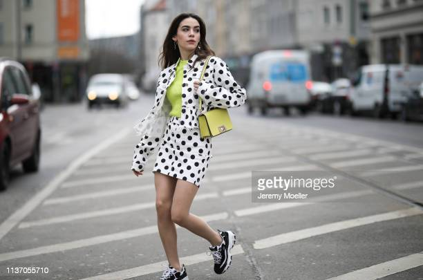 Frankie Miles wearing Twinset Frill denim jacket misguided jeans skirt misguided polka dots Lime yellow bag furla mimi mini Ugly Sneaker Skechers...