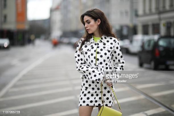 Frankie Miles wearing Twinset Frill denim jacket misguided jeans skirt misguided polka dots Lime yellow bag furla mimi mini lime green Neon Shirt...
