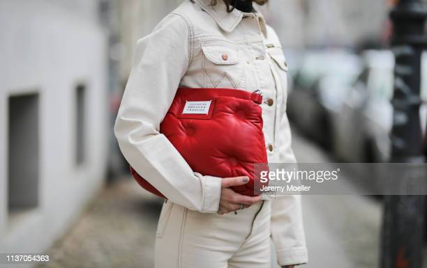 Frankie Miles wearing white Denim jacket wrangler White Jeans Wrangler Glam slam quilted leather bag Maison Margiela on March 19 2019 in Berlin...