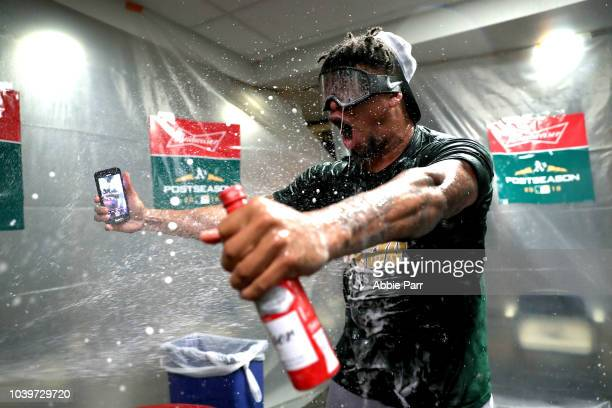 Frankie Montas of the Oakland Athletics celebrates clinching a spot in the playoffs after beating the Seattle Mariners at Safeco Field on September...