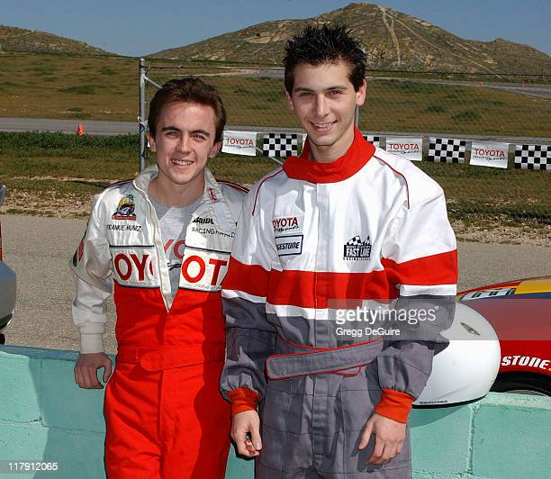 Frankie Muniz and Justin Berfield during 2005 Toyota Pro/Celebrity Race Driver Training at Willow Springs International Raceway in Rosamond...