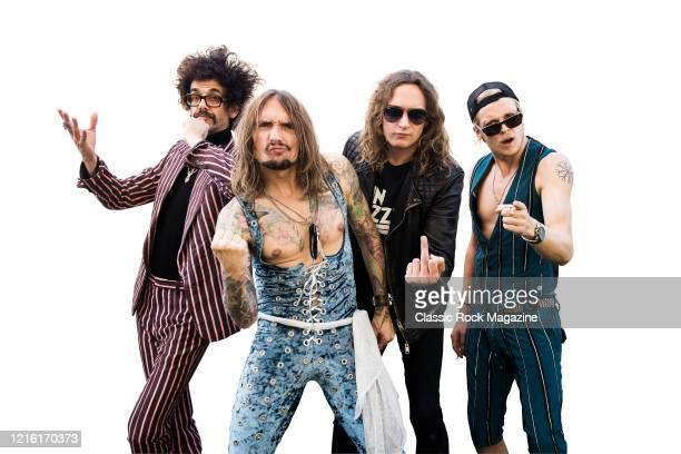 Frankie Poullain, Justin Hawkins, Dan Hawkins and Rufus Taylor of British rock group The Darkness, photographed at Chantry Park in Ipswich on August...