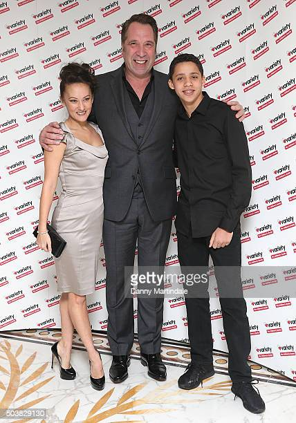 Frankie Poultney David Seaman and son attend a Torvill and Dean tribute lunch in aid of Variety at The Dorchester on January 7 2016 in London England