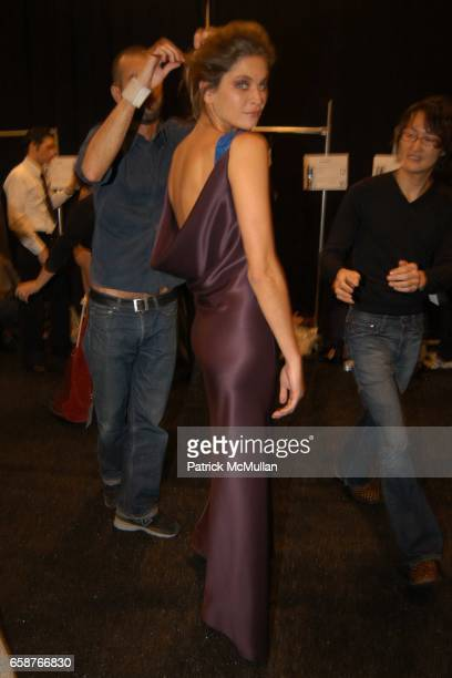 Frankie Rayder attends At the Carolina Herrera Fashion Show at Bryant Park Tents on February 9 2004 in New York City