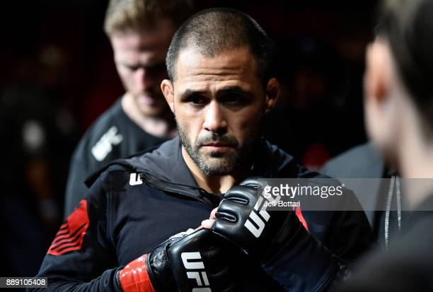 Frankie Saenz prepares to enter the Octagon before facing Merab Dvalishvili in their bantamweight bout during the UFC Fight Night event inside Save...