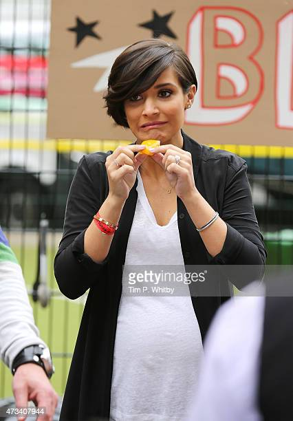 Frankie Sandford attends a photocall during activities on Food Revolution Day at Rhyl Primary School on May 15 2015 in London England