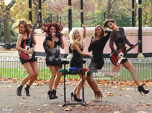 Frankie Sandford Mollie King Una Healy Rochelle Wiseman and Vanessa White of The Saturdays attend photocall to launch Band Hero game for PS3 Wii and...
