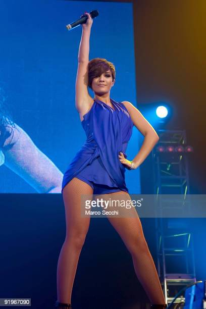 Frankie Sandford ofThe Saturdays performs at the Girlguiding UK's Centenary Big Gig at Wembley Arena on October 17 2009 in London England
