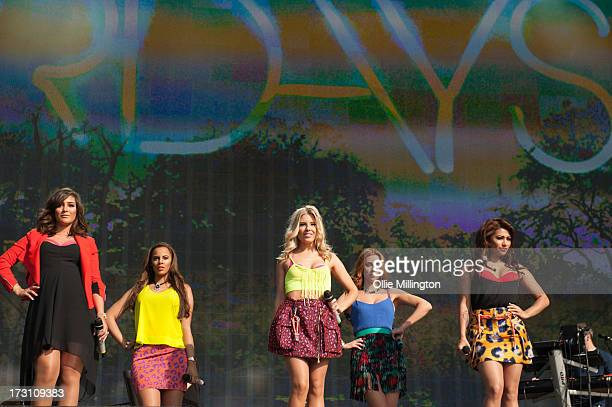 Frankie Sandford Rochelle Humes Mollie King Una Healy and Vanessa White of The Saturdays perform on stage at British Summer Time A Day At The Park at...