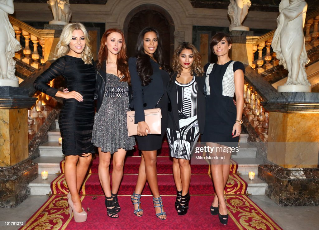 Frankie Sandford, Rochelle Wiseman, Mollie King, Una Healy and Vanessa White attend the Julien Macdonald show during London Fashion Week Fall/Winter 2013/14 at Goldsmiths' Hall on February 16, 2013 in London, England.