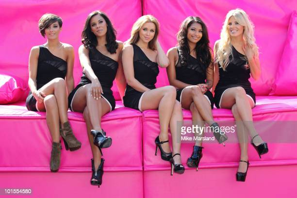 Frankie Sandford Rochelle Wiseman Una Healy Vanessa White and Mollie King of The Saturdays attend photocall to launch the TMobile Big Sofa/Night In...