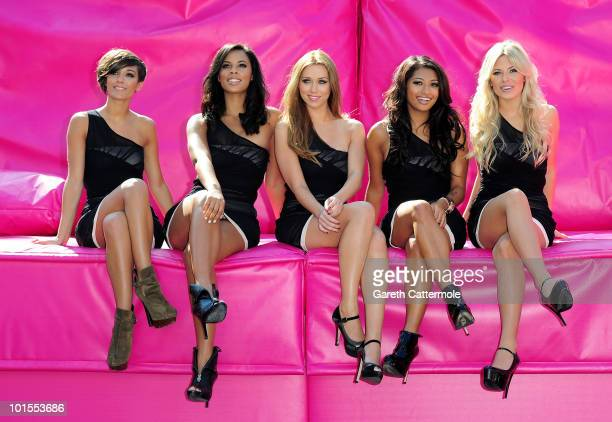 Frankie Sandford Rochelle Wiseman Una HealyVanessa White and Mollie king of The Saturdays launch TMobile's Big Sofa/Night In on June 2 2010 in London...