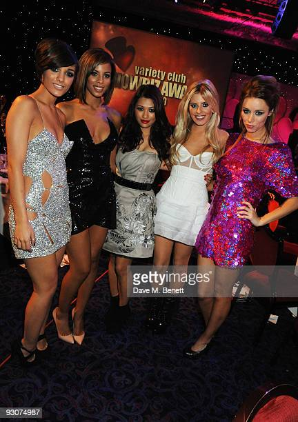 Frankie Sandford Rochelle Wiseman Vanessa White Mollie King and Una Healy of The Saturdays attend the Variety Club Showbiz Awards at the Grosvenor...