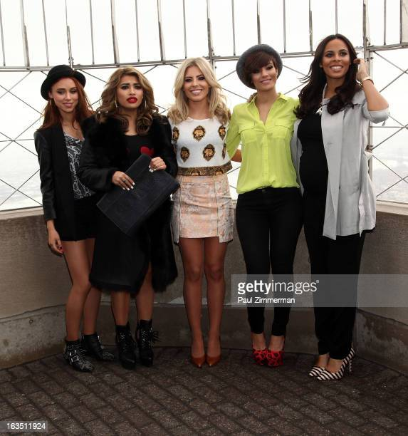 Frankie Sandford Vanessa White Mollie King Una Healey and Rochelle Humes of the band 'The Saturdays' visit the Empire State Building on March 11 2013...