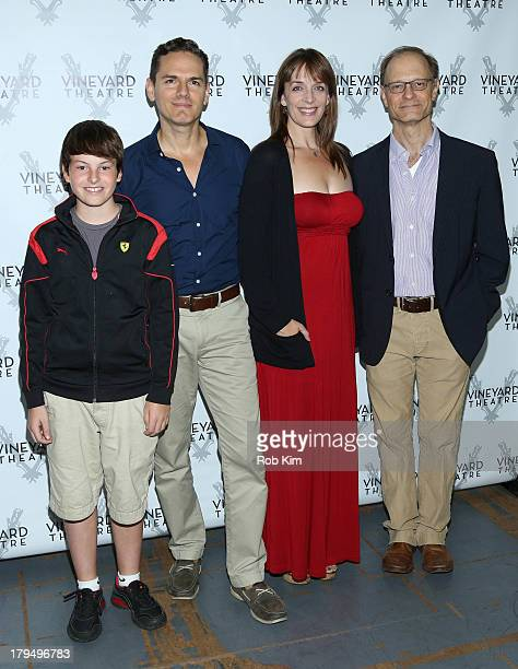 Frankie Seratch Paul Anthony Stewart Julia Murney and David Hyde Pierce attend The Landing Cast Photo Call at Roundabout Theatre Company Rehearsal...