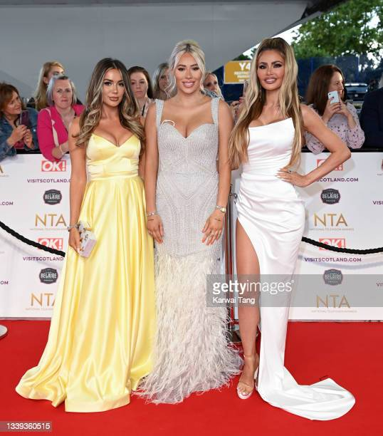 Frankie Sims, Demi Sims and Chloe Sims attend the National Television Awards 2021 at The O2 Arena on September 09, 2021 in London, England.