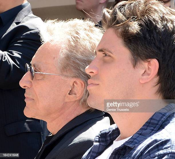 Frankie Valli and his son Francesco Valli during the Frankie Valli And The Four Seasons star unveiling at the Las Vegas Walk Of Stars in front of...