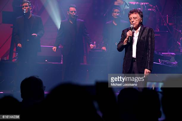Frankie Valli And The Four Seasons perform at Frankie Valli And The Four Seasons Broadway Opening Night at LuntFontanne Theatre on October 21 2016 in...