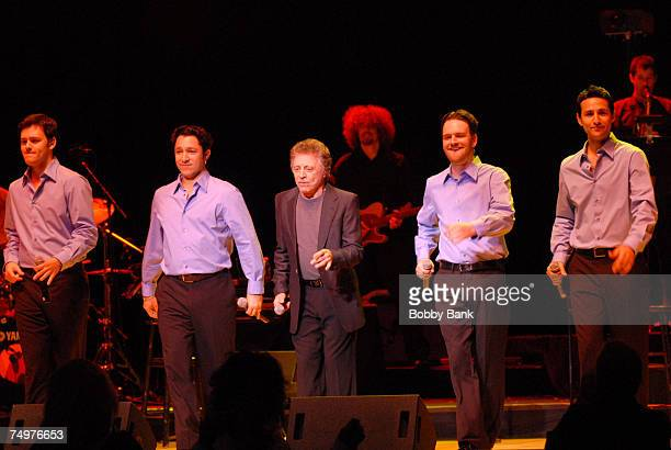 Frankie Valli and The Four Seasons perform on stage at the Mountain Laurel Center on June 30 2007 in Bushkill Falls Pennsylvania