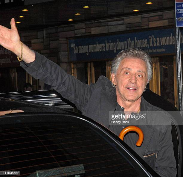 Frankie Valli attends the Christian Hoff and Michael Longoria Final Performance in 'Jersey Boys' at the August Wilson Theatre on September 28 2008 in...