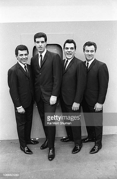 Frankie Valli Bob Gaudio Nick Massi and Tommy DeVito of the doo wop group The Four Seasons pose for a portrait at the Democratic National Convention...