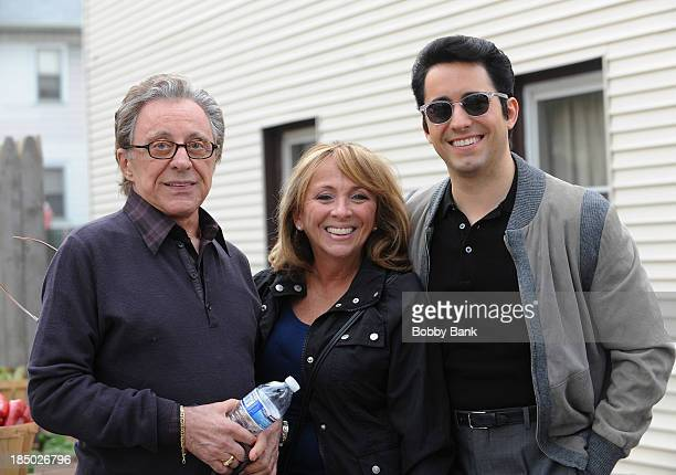 Frankie Valli daughter Toni Valli and actor John Lloyd Young as Frankie Valli on the set of Jersey Boys on October 16 2013 in Kearny New Jersey