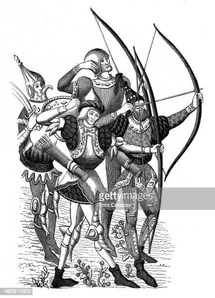 Frankish archers 15th century A wood engraving of the painted hangings in the town of Rheims Illustration from The Arts of the Middle Ages and at the...
