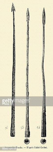 Frankish weaponry Frankish angons 19th Century engraving
