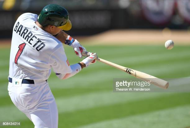 Franklin Barreto of the Oakland Athletics hits a walkoff solo home run in the bottom of the ninth inning to defeat the Chicago White Sox 76 at...