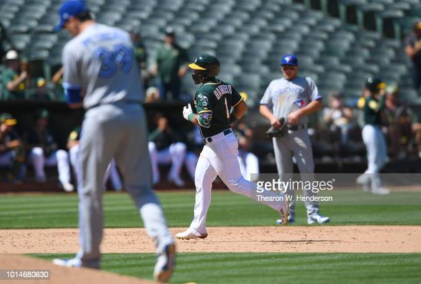 Franklin Barreto of the Oakland Athletics trots around the bases after hitting a solo home run off of Jake Petricka of the Toronto Blue Jays in the...