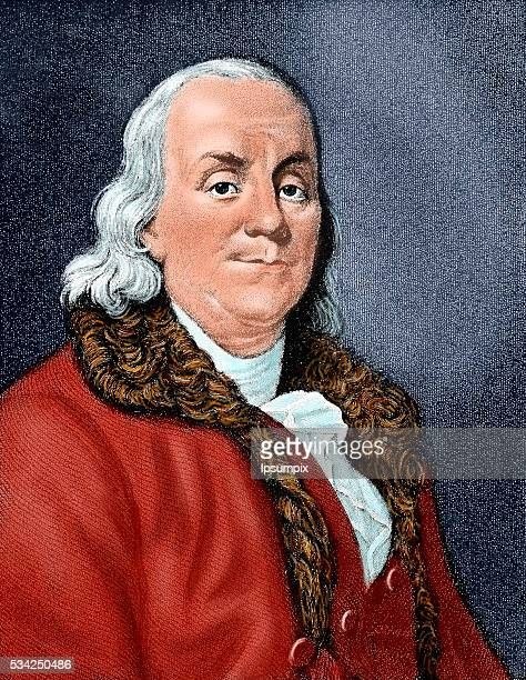 Franklin Benjamin American statesman and scientist Colored engraving