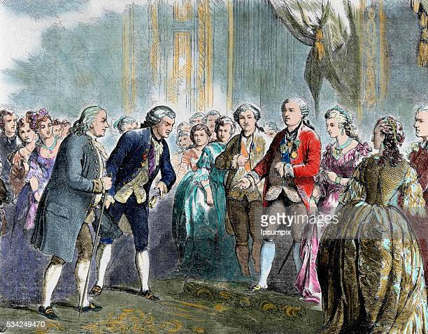 Franklin Benjamin Statesman and scientist Franklin at Louis XVI and Marie Antoinette Paris Colored engraving
