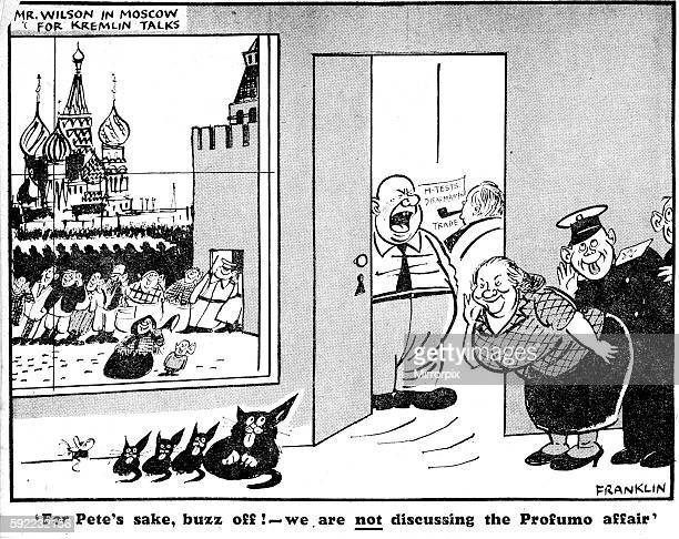 Franklin Cartoon 11th June 1963 'For Pete's sake we are not discussing the Profumo affair ' Mr Wilson in Moscow for Kremlin talks