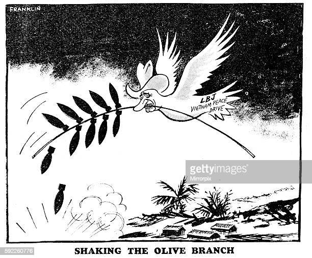 Franklin cartoon 1st February 1966 Lindon B Johnson seen here as a dove of peace holding a olive branch made of bombs bombing Vietnam 'LBJ Vietnam...