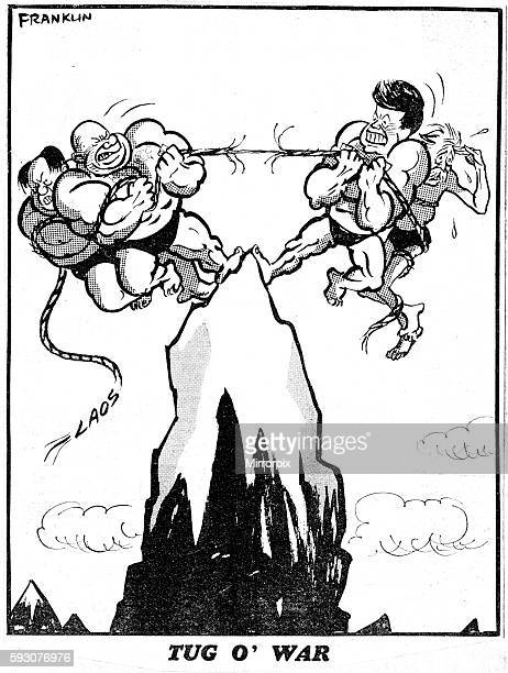 Franklin cartoon 27th March 1961 Tug O' War depicts strongmen Chairman Mao and Nikita Khrushchev having a tug of war with President Kennedy and...