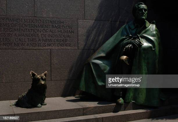 Franklin D Roosevelt 32th President of the United States and his dog Fala Bronze statue Franklin Delano Roosevelt Memorial Washington DC United States