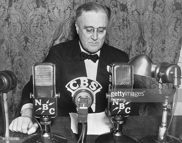Franklin D Roosevelt addresssing the nation over the radio in one of his 'Fireside chats' Undated photograph