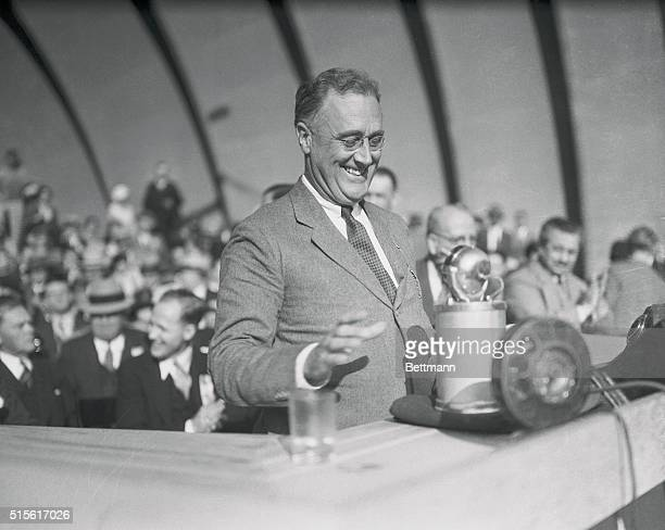 Franklin D Roosevelt Governor of New York speaking at Los Angeles during his campaign for the presidency in 1932