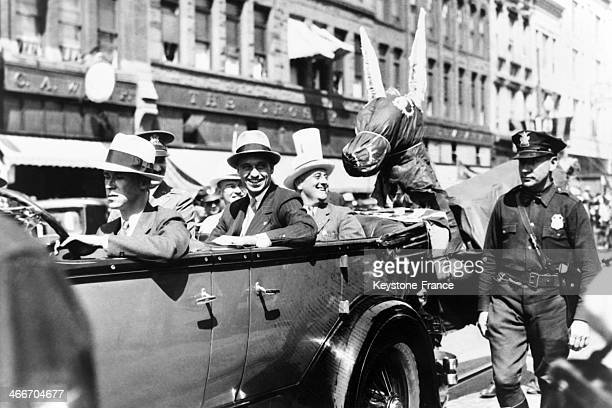Franklin D Roosevelt governor of New York state and Democratic Party candidate for president of United States during campaign in Kansas on September...