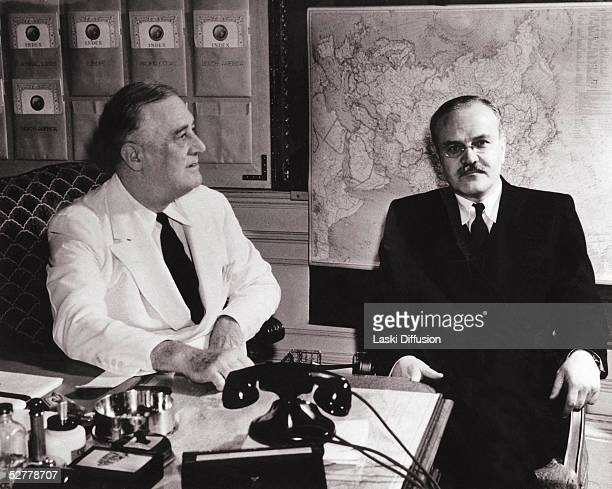 Franklin D Roosevelt President of the United States with Russian Foreign Minister Vyacheslav Molotov in Tehran November 1943