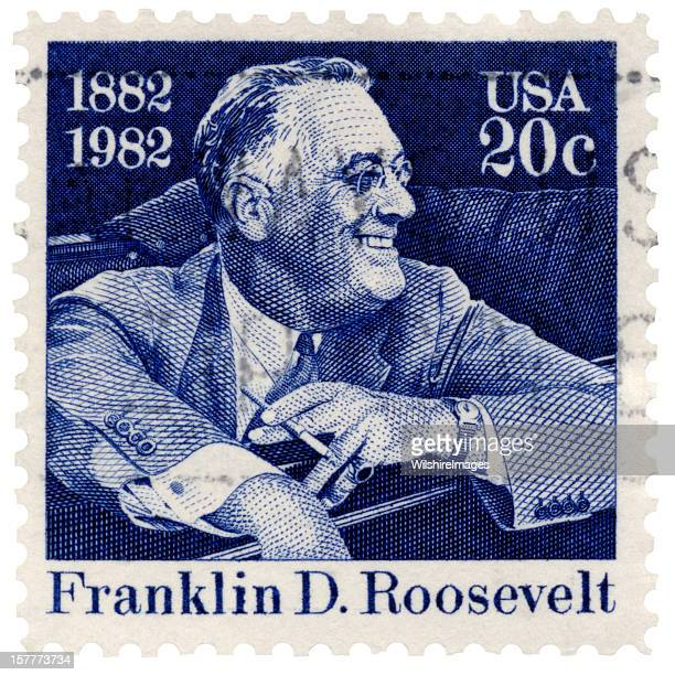 Franklin D. Roosevelt Smiling Seated in Car Postage Stamp