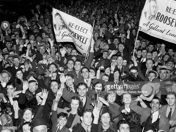 Franklin D Roosevelt supporters on election night in Times Square