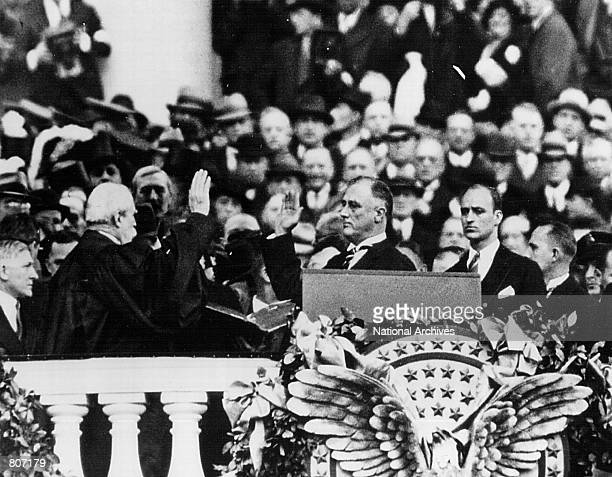 Franklin D. Roosevelt takes the Oath of Office as President of the United States in January 20, 1933 in Washington D.C.