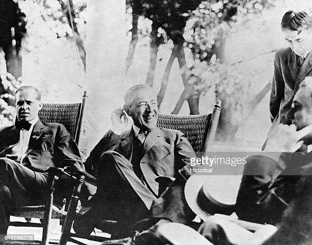 Franklin D. Roosevelt with President Woodrow Wilson. At the time of the photograph, Roosevelt was Assistant Secretary of the Navy.