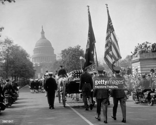 Franklin D Roosevelt's cortege goes down Connecticut Avenue on its way to the White House at Washington DC