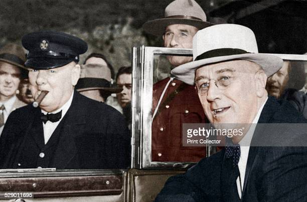 Franklin Delano Roosevelt 32nd President of the USA and Winston Churchill British Prime Minister meeting in Quebec in 1944 Churchill is smoking one...