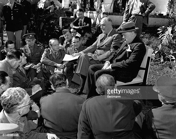 Franklin Delano Roosevelt and Winston Churchill hold an open air press conference during the Casablanca Conference