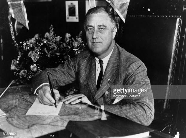 Franklin Delano Roosevelt the 32nd President of the United States from 193345 A Democrat he led his country through the depression of the 1930's and...