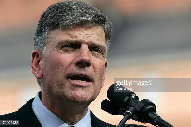 Franklin Graham preaches during the Metro Maryland 2006 Festival July 9 2006 at Oriole Park at Camden Yards in Baltimore Maryland Graham led the...