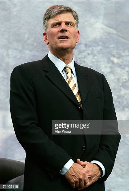 Franklin Graham takes part in the Metro Maryland 2006 Festival July 9 2006 at Oriole Park at Camden Yards in Baltimore Maryland Graham led the...